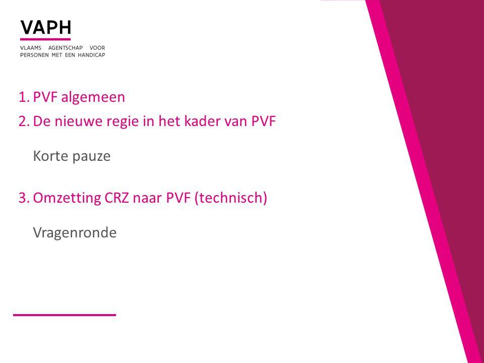 PVF algemeen De nieuwe regie in het kader van PVF Korte pauze.