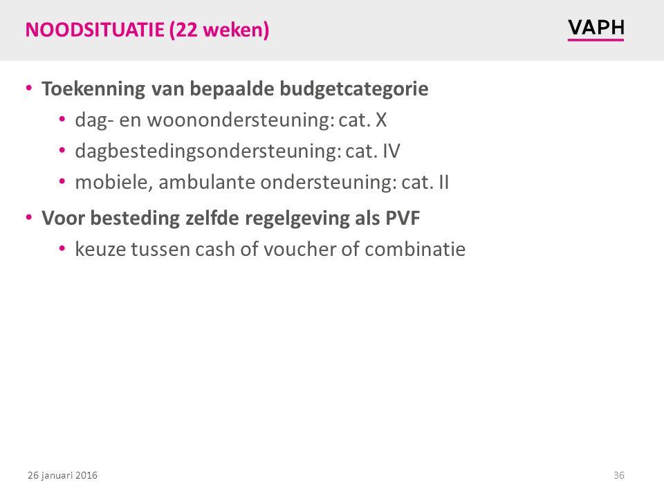 NOODSITUATIE (22 weken) Toekenning van bepaalde budgetcategorie. dag- en woonondersteuning: cat. X.