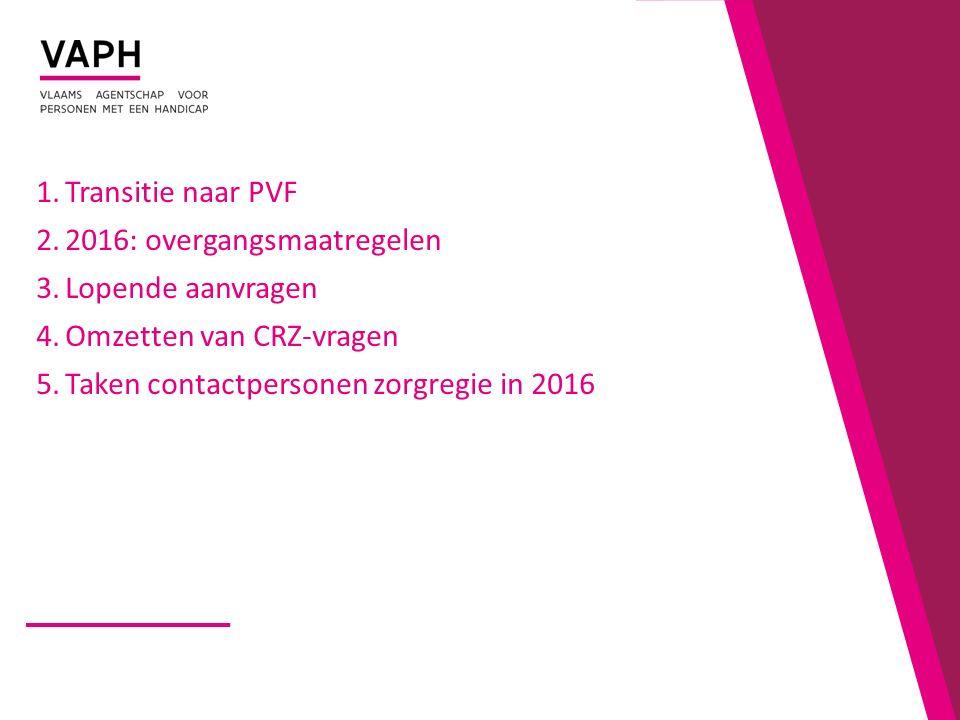 Transitie naar PVF 2016: overgangsmaatregelen. Lopende aanvragen.