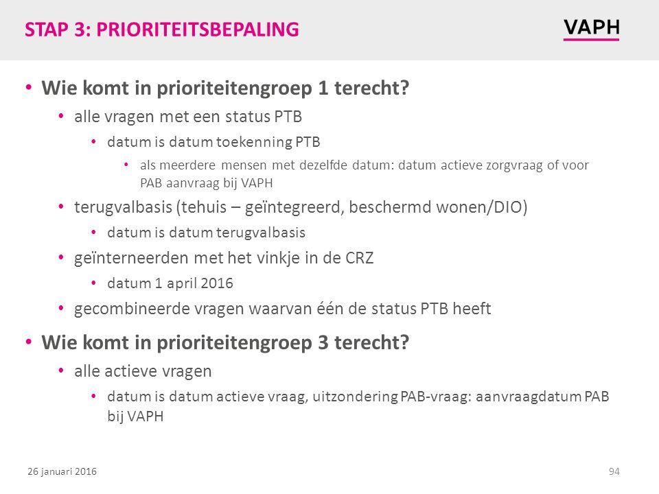STAP 3: PRIORITEITSBEPALING
