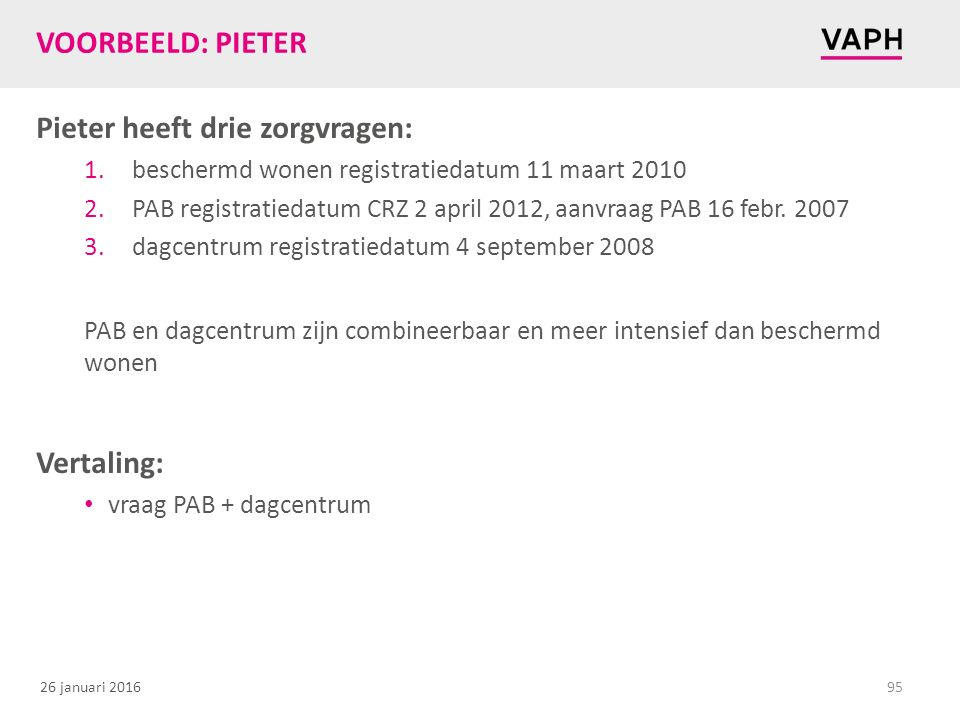 Pieter heeft drie zorgvragen: