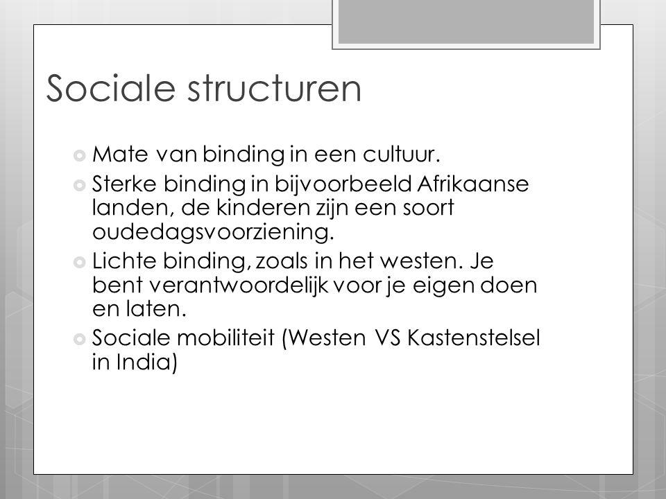 Sociale structuren Mate van binding in een cultuur.