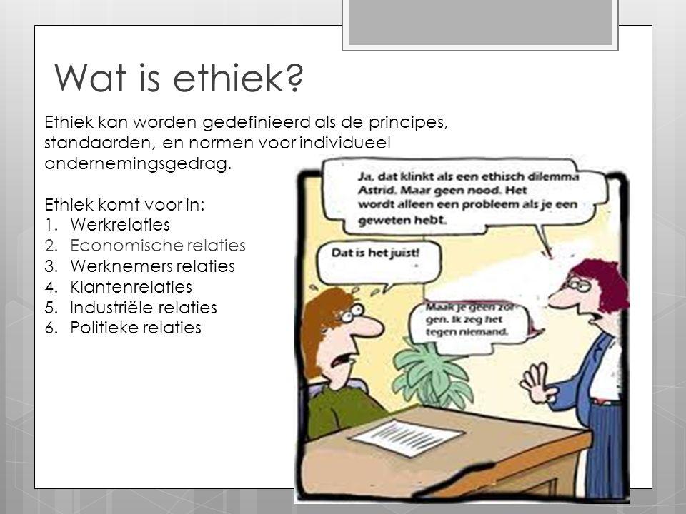 Wat is ethiek Ethiek kan worden gedefinieerd als de principes, standaarden, en normen voor individueel ondernemingsgedrag.
