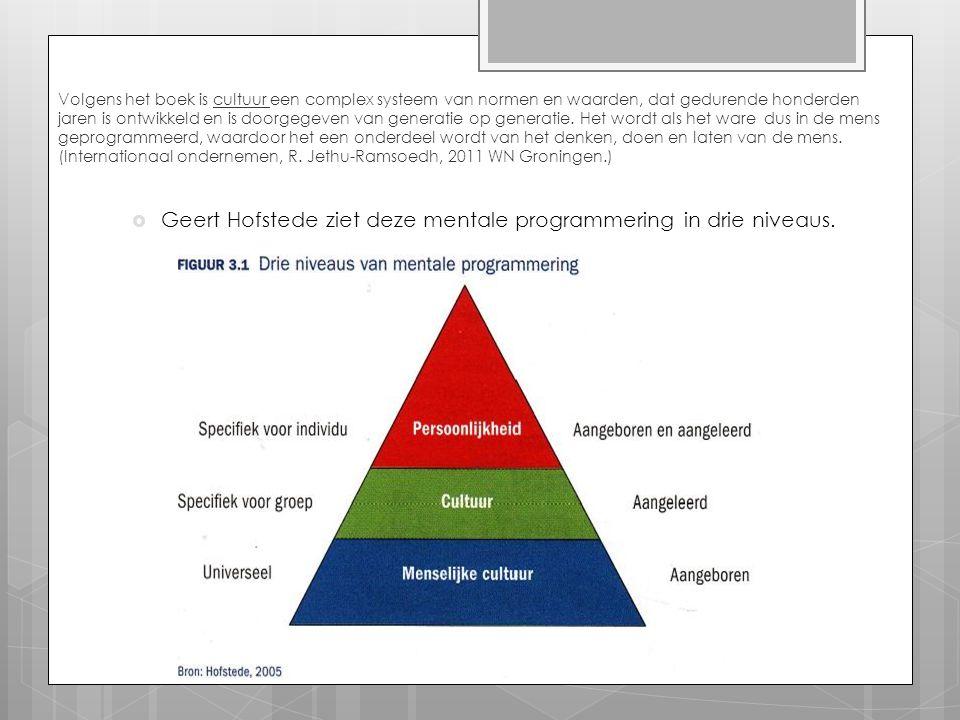Geert Hofstede ziet deze mentale programmering in drie niveaus.