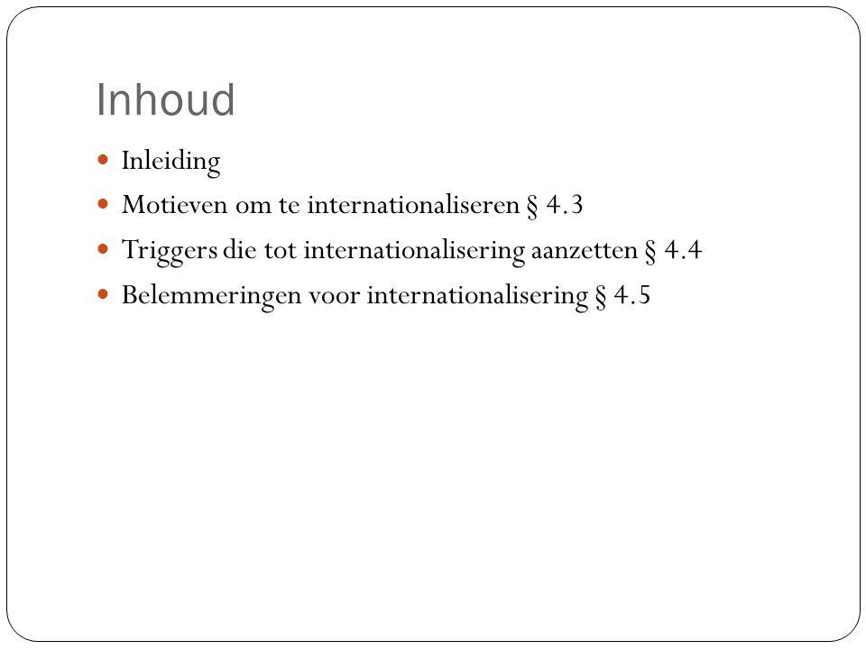 Inhoud Inleiding Motieven om te internationaliseren § 4.3