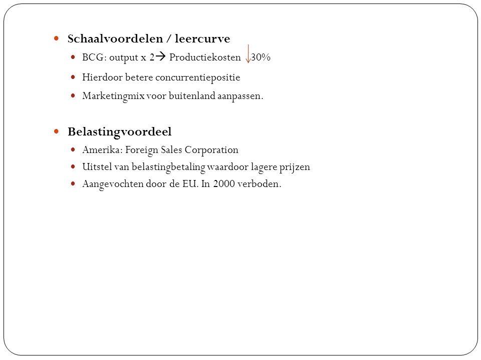 Schaalvoordelen / leercurve