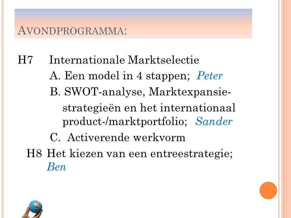 Avondprogramma: H7 Internationale Marktselectie