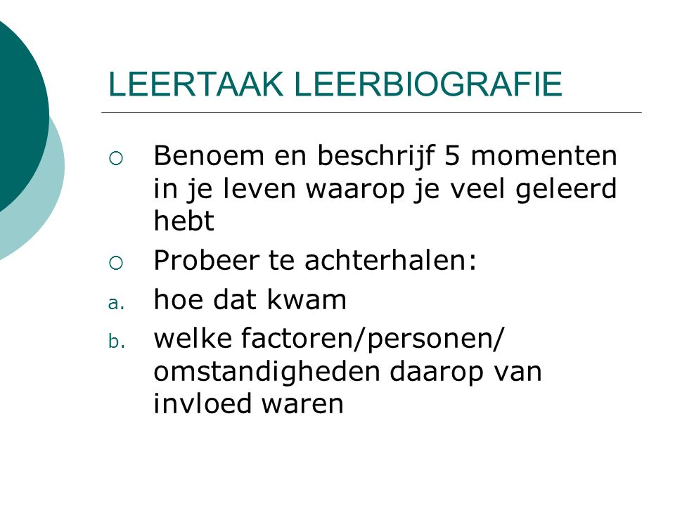 LEERTAAK LEERBIOGRAFIE