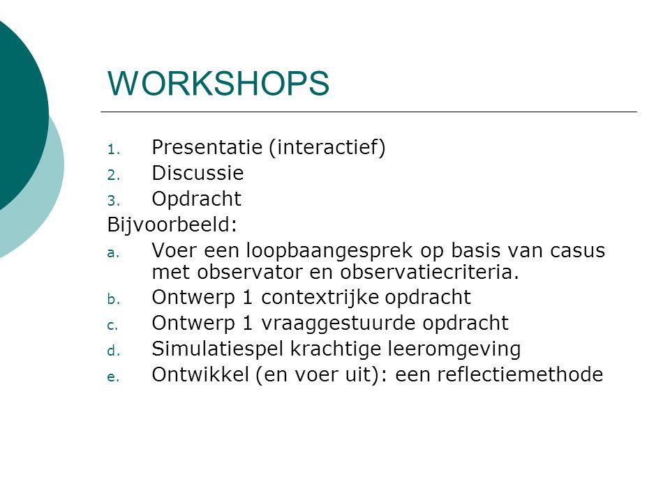 WORKSHOPS Presentatie (interactief) Discussie Opdracht Bijvoorbeeld: