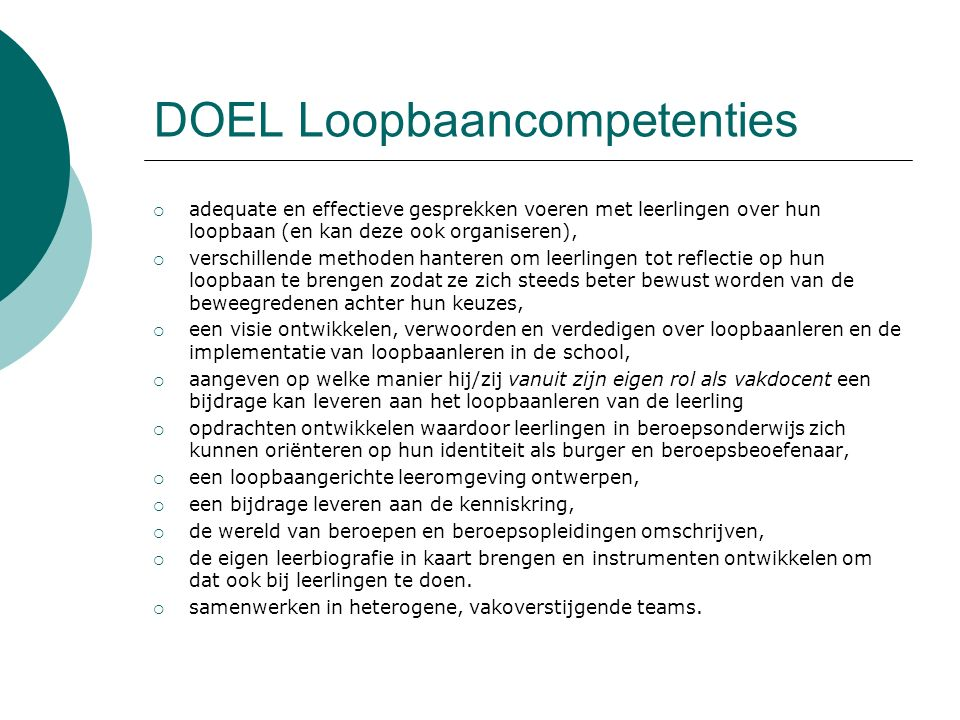 DOEL Loopbaancompetenties