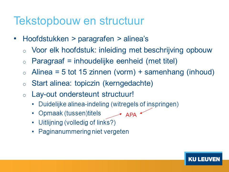 Tekstopbouw en structuur
