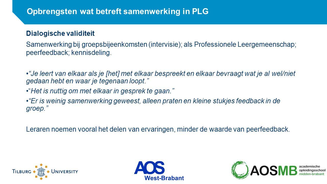 Opbrengsten wat betreft samenwerking in PLG