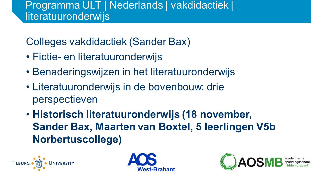 Programma ULT | Nederlands | vakdidactiek | literatuuronderwijs