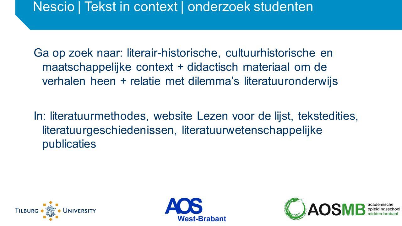 Nescio | Tekst in context | onderzoek studenten