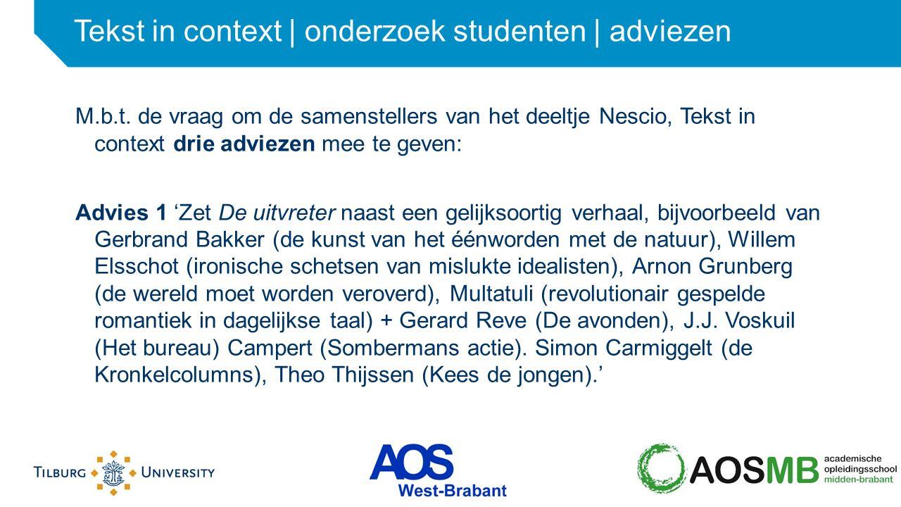 Tekst in context | onderzoek studenten | adviezen