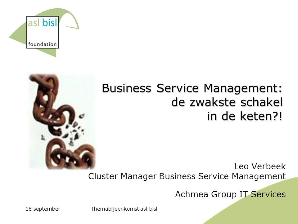 Business Service Management: de zwakste schakel in de keten !