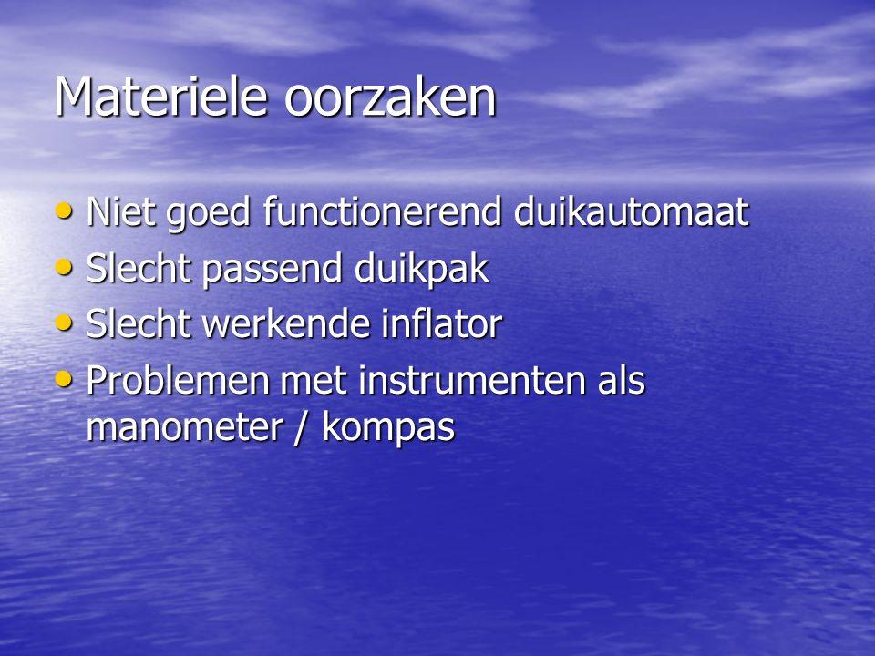 Materiele oorzaken Niet goed functionerend duikautomaat