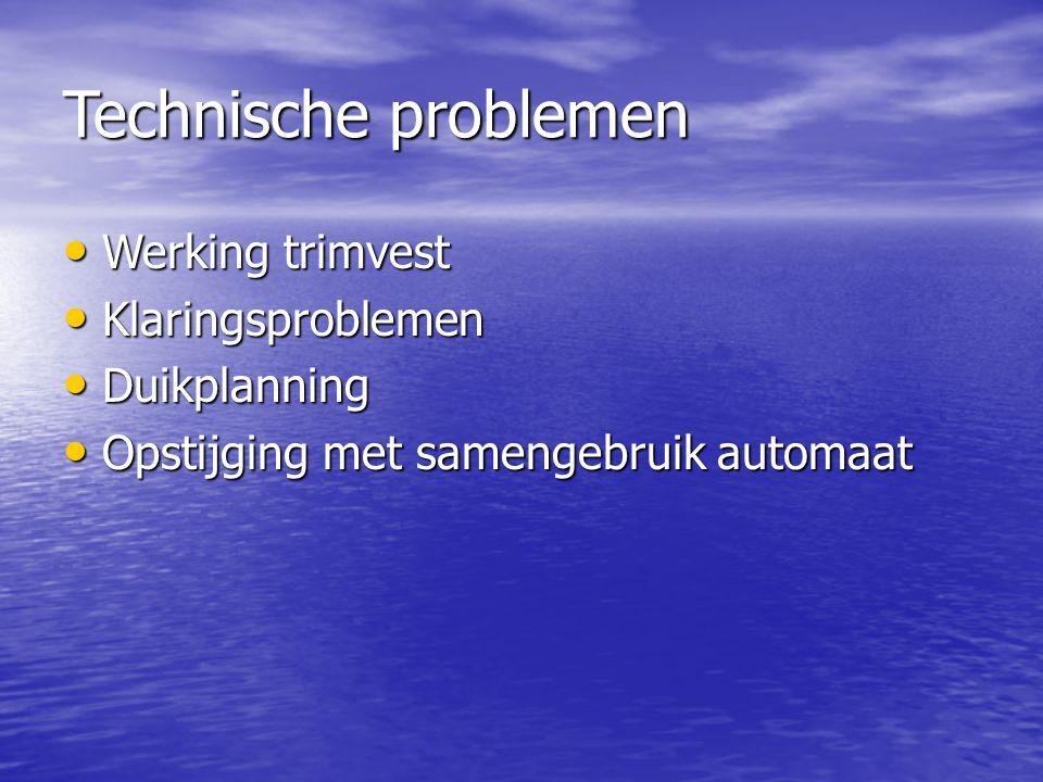 Technische problemen Werking trimvest Klaringsproblemen Duikplanning