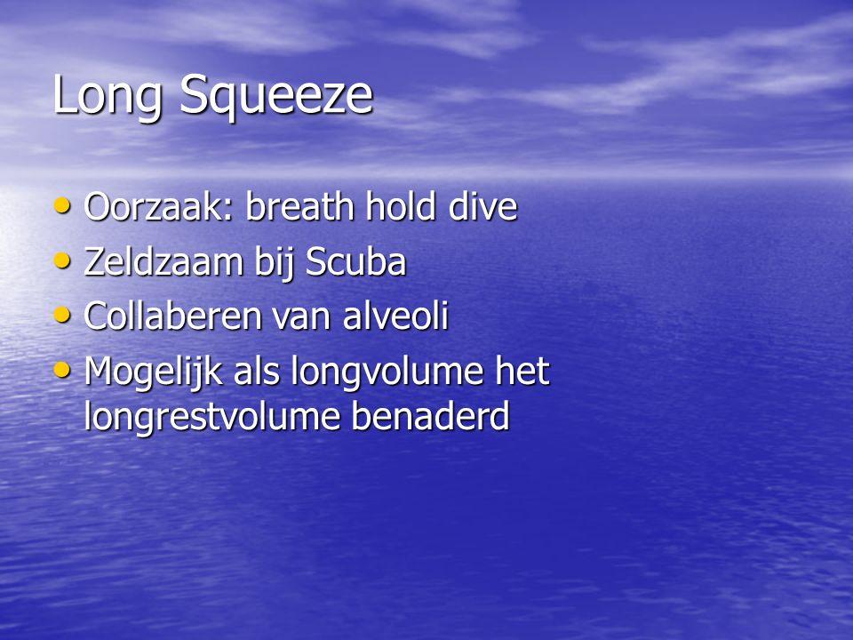 Long Squeeze Oorzaak: breath hold dive Zeldzaam bij Scuba