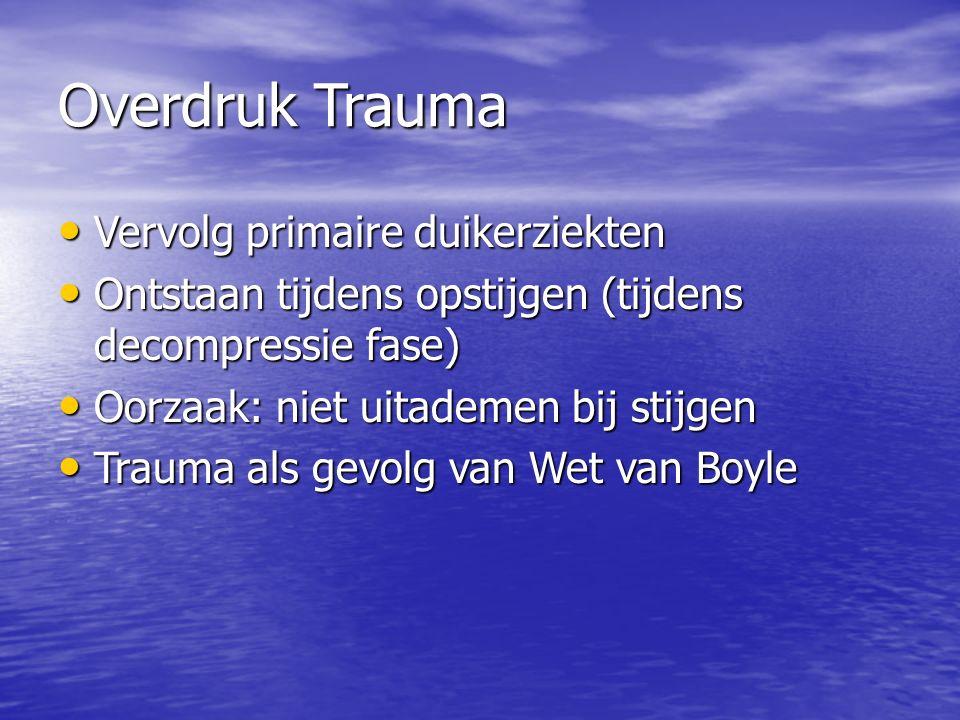 Overdruk Trauma Vervolg primaire duikerziekten