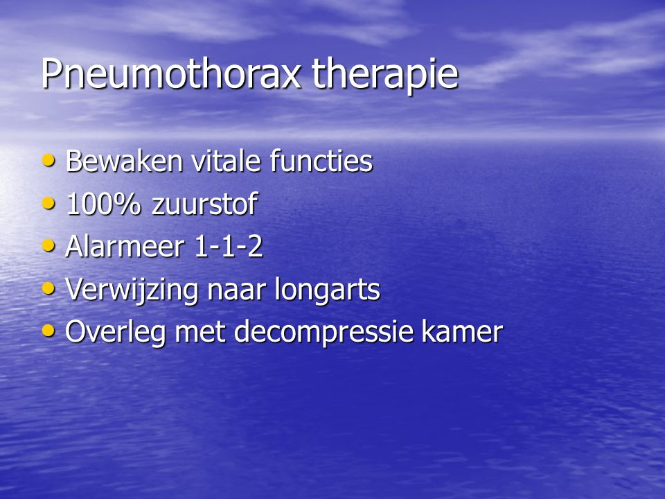 Pneumothorax therapie