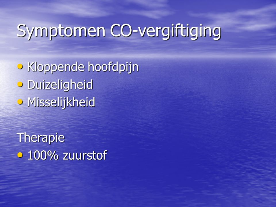 Symptomen CO-vergiftiging
