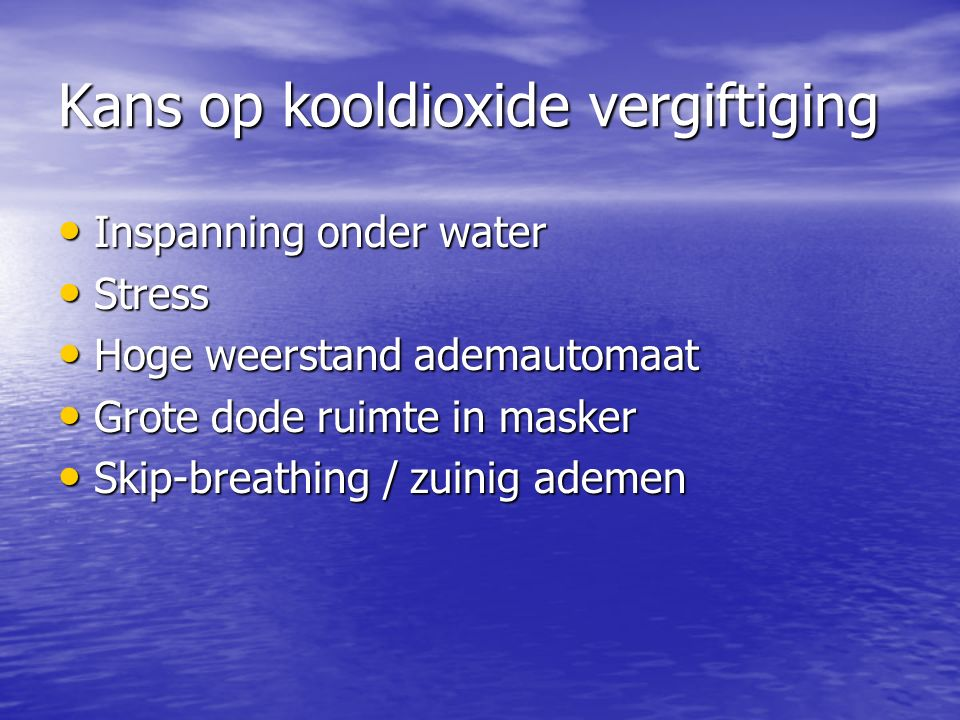 Kans op kooldioxide vergiftiging
