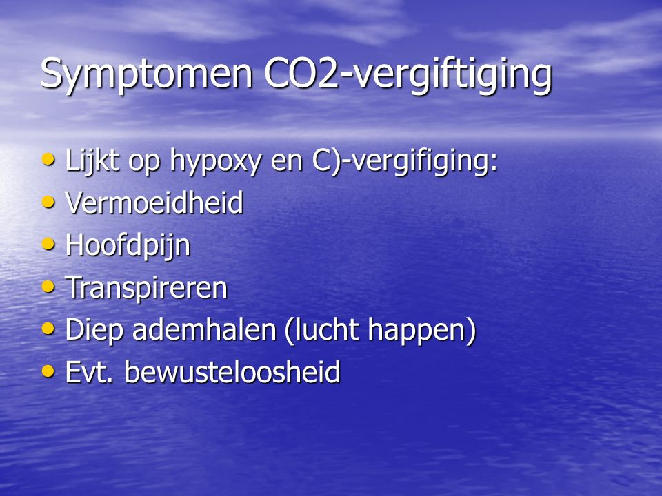 Symptomen CO2-vergiftiging