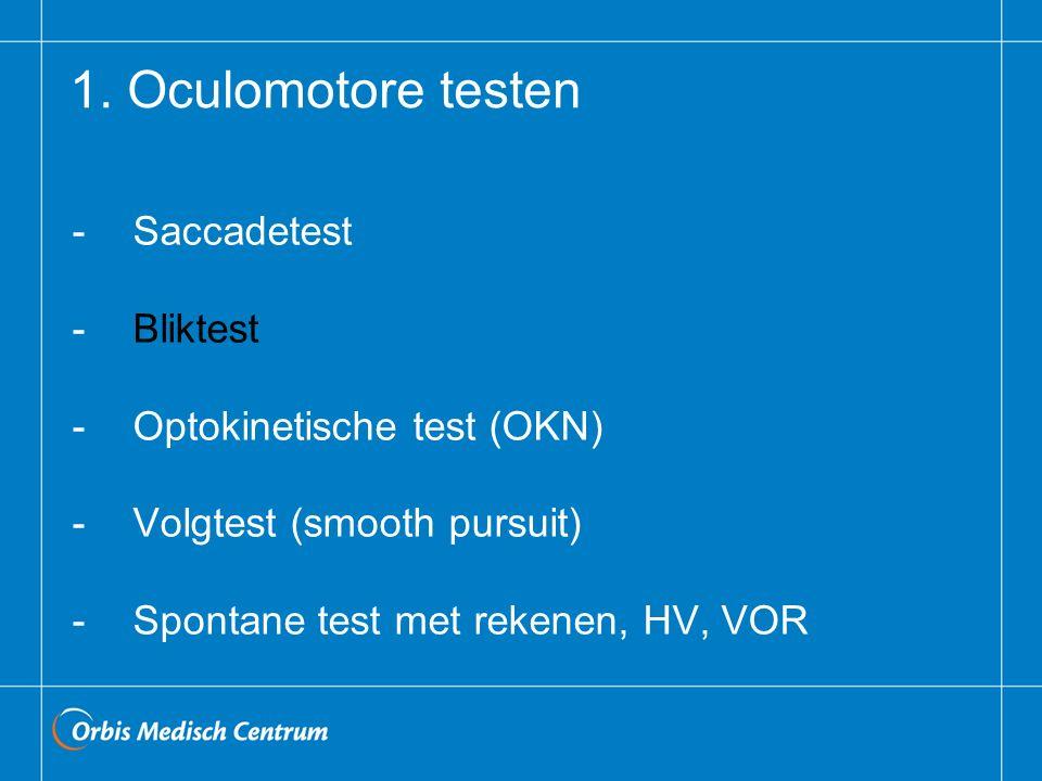1. Oculomotore testen - Saccadetest - Bliktest