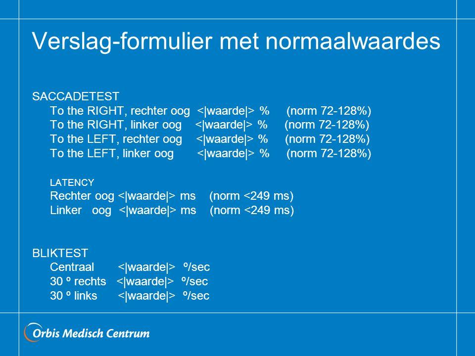 Verslag-formulier met normaalwaardes