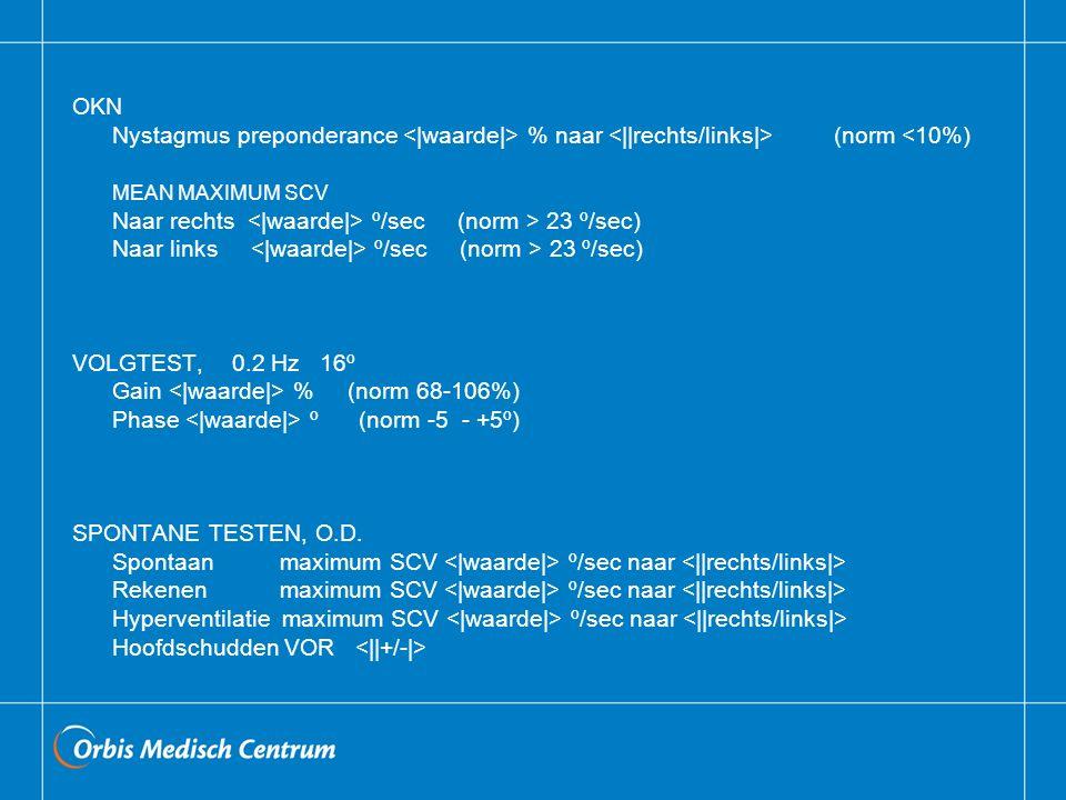 OKN Nystagmus preponderance <|waarde|> % naar <||rechts/links|> (norm <10%) MEAN MAXIMUM SCV.
