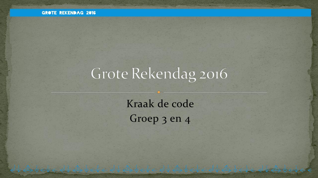 Grote Rekendag 2016 Kraak de code Groep 3 en 4