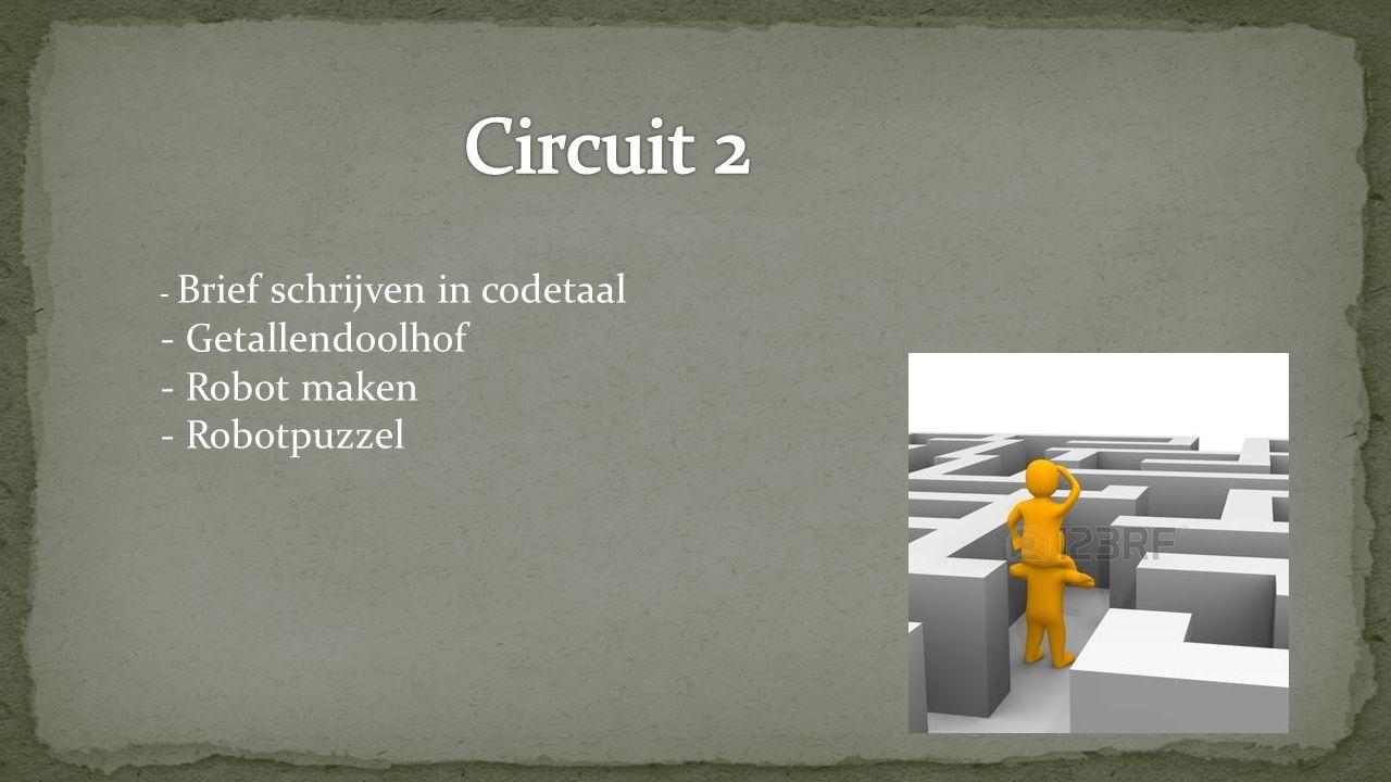 Circuit 2 - Getallendoolhof - Robot maken - Robotpuzzel