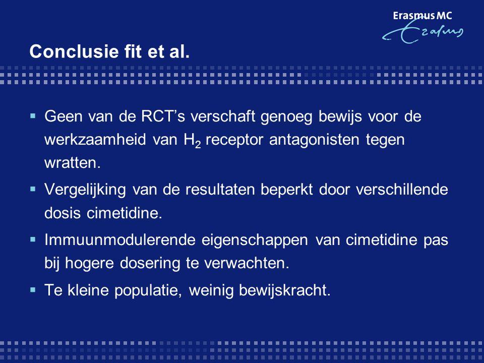 Conclusie fit et al. Geen van de RCT's verschaft genoeg bewijs voor de werkzaamheid van H2 receptor antagonisten tegen wratten.