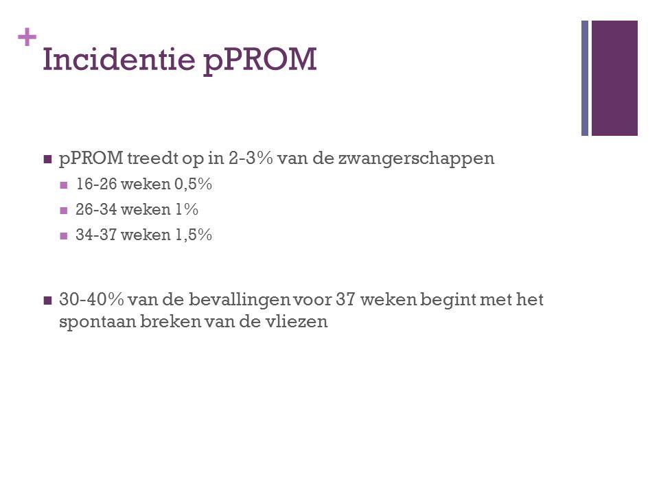 Incidentie pPROM pPROM treedt op in 2-3% van de zwangerschappen