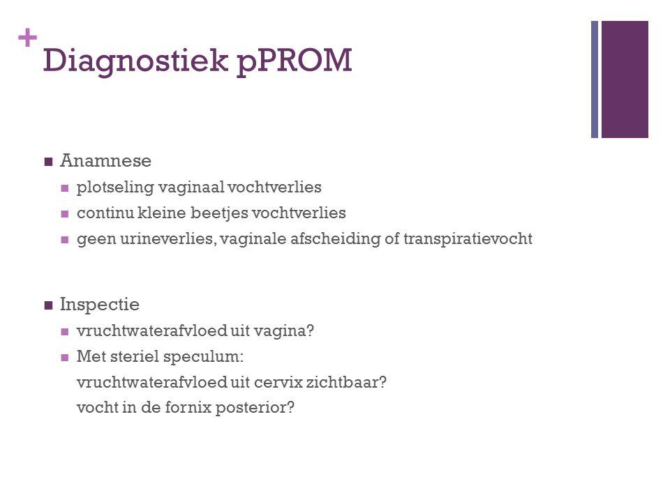 Diagnostiek pPROM Anamnese Inspectie plotseling vaginaal vochtverlies