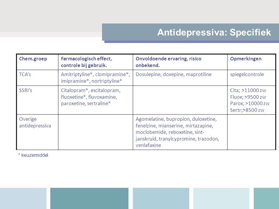 Antidepressiva: Specifiek