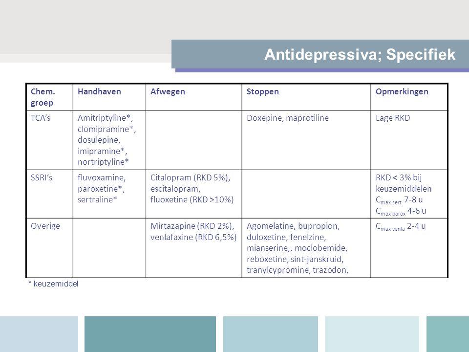 Antidepressiva; Specifiek