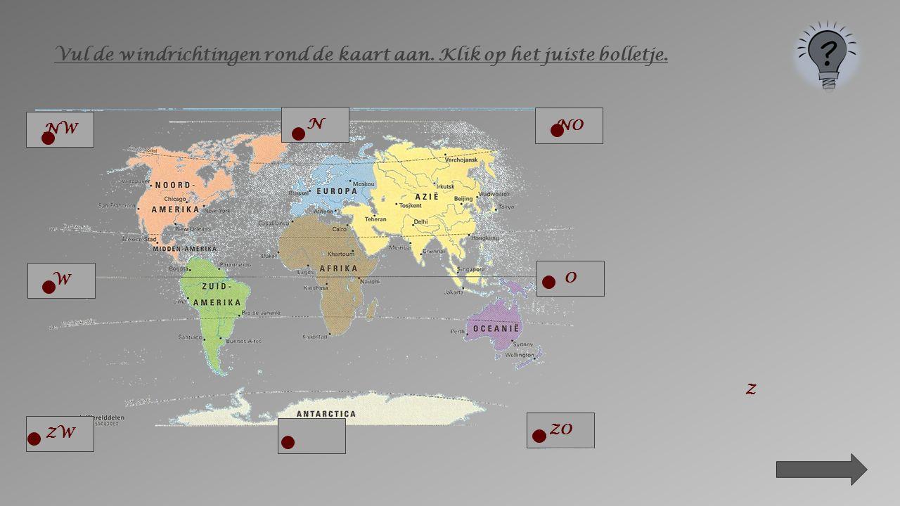 Vul de windrichtingen rond de kaart aan. Klik op het juiste bolletje.
