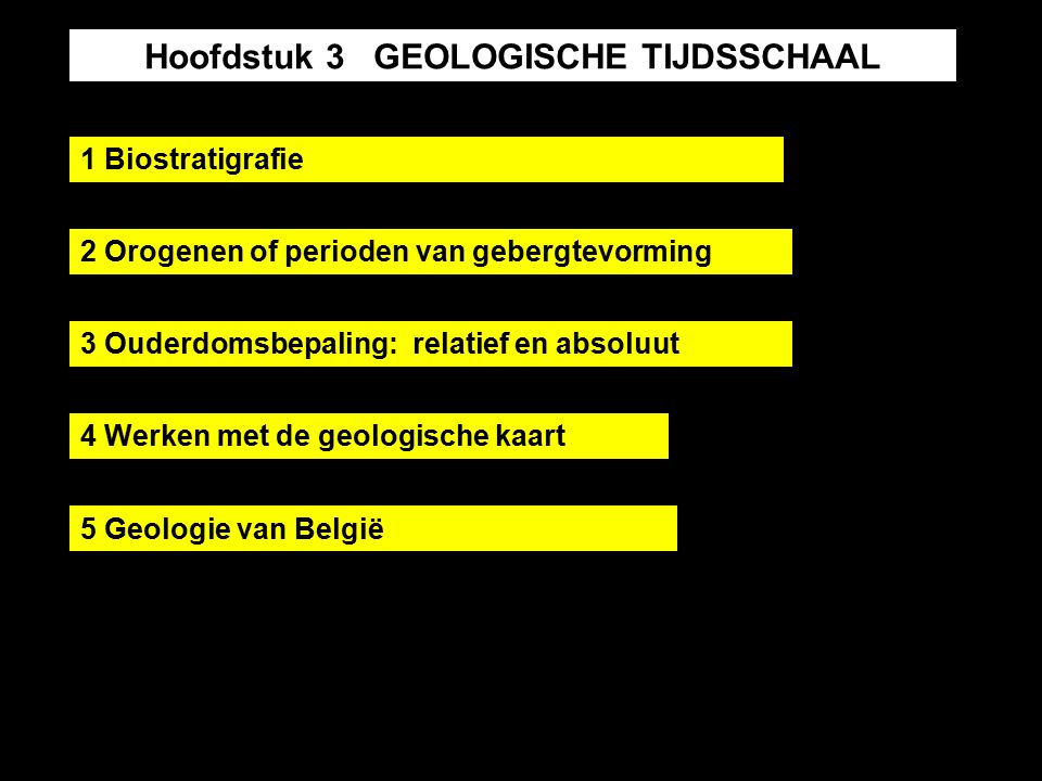 Hoofdstuk 3 GEOLOGISCHE TIJDSSCHAAL