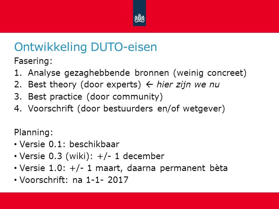 Ontwikkeling DUTO-eisen