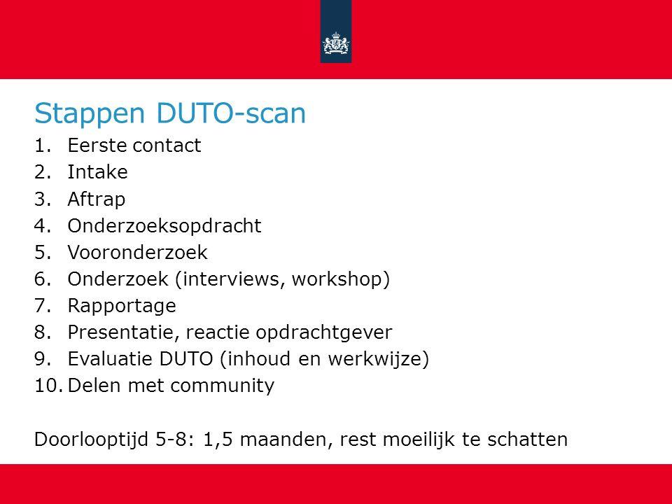 Stappen DUTO-scan Eerste contact Intake Aftrap Onderzoeksopdracht