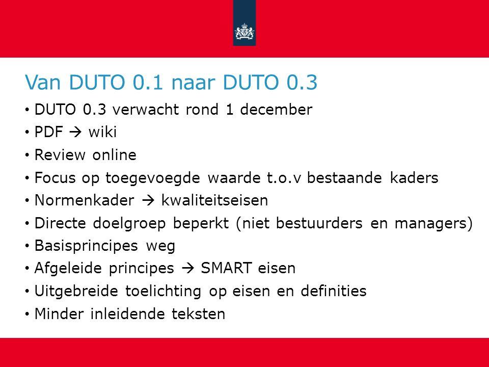 Van DUTO 0.1 naar DUTO 0.3 DUTO 0.3 verwacht rond 1 december