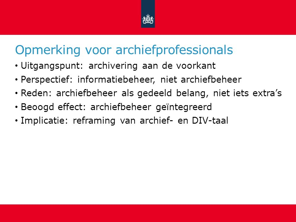 Opmerking voor archiefprofessionals