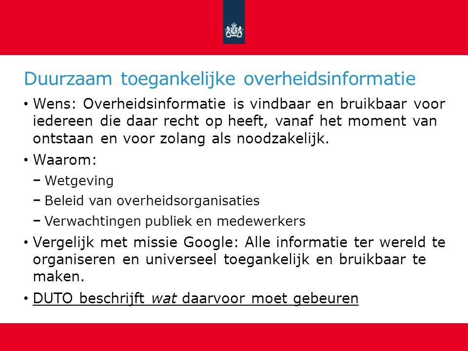 Duurzaam toegankelijke overheidsinformatie