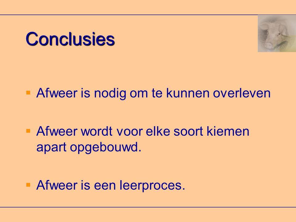 Conclusies Afweer is nodig om te kunnen overleven