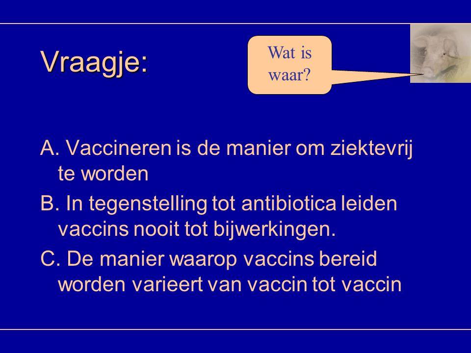 Vraagje: A. Vaccineren is de manier om ziektevrij te worden