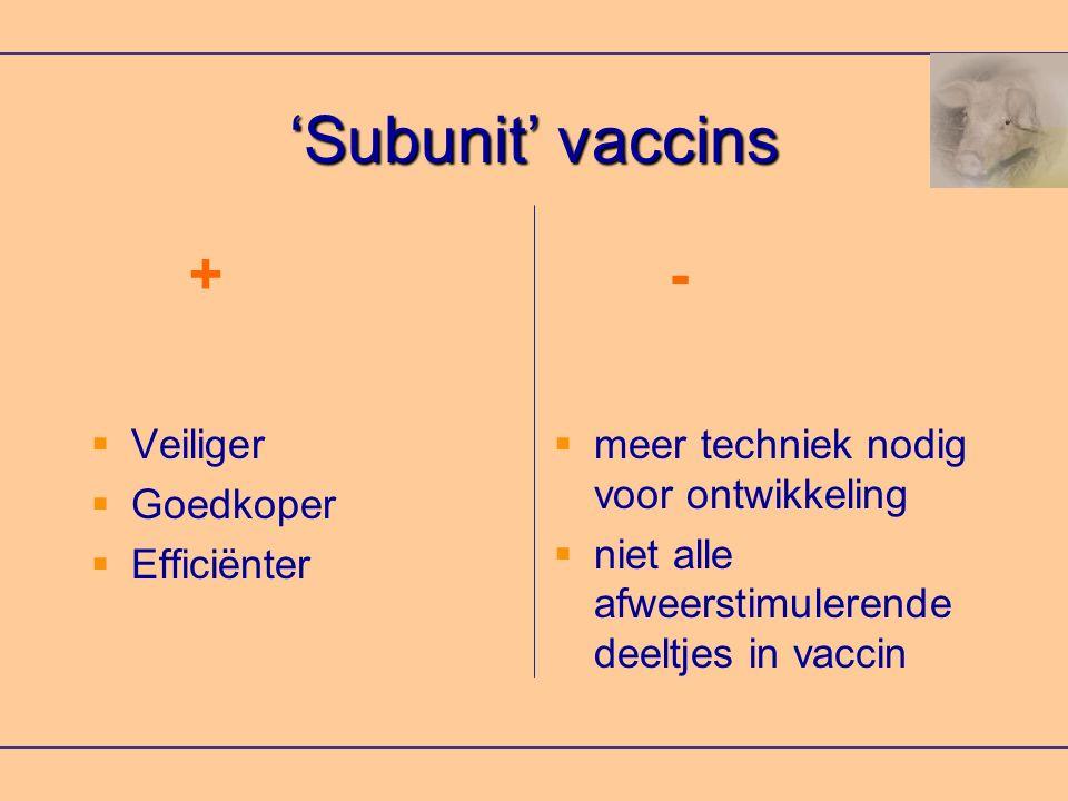 'Subunit' vaccins + - Veiliger Goedkoper Efficiënter