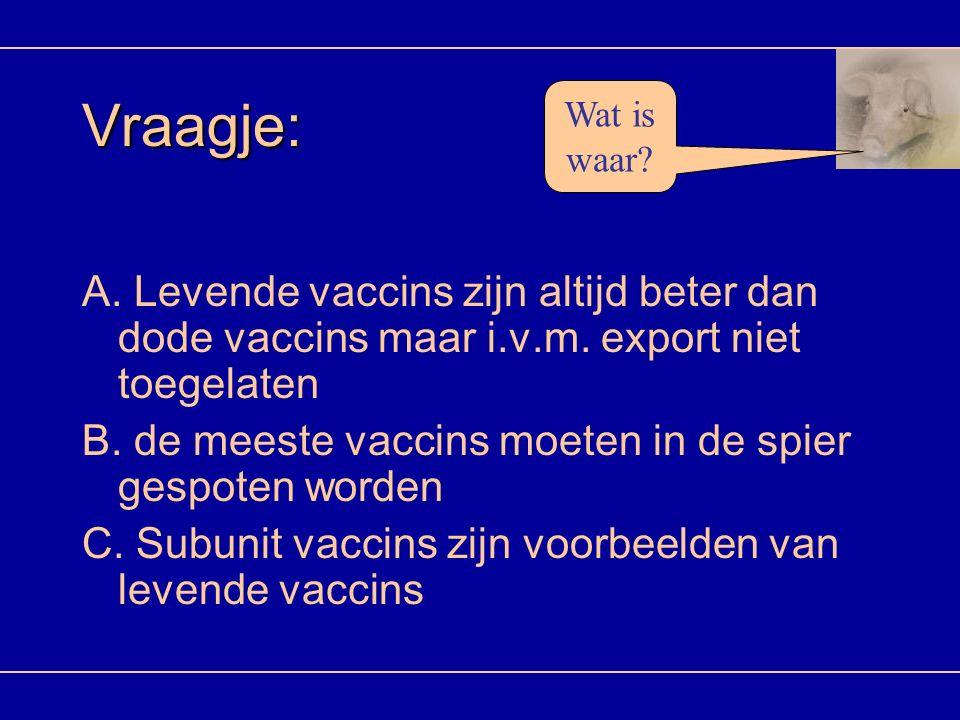 Vraagje: Wat is waar A. Levende vaccins zijn altijd beter dan dode vaccins maar i.v.m. export niet toegelaten.