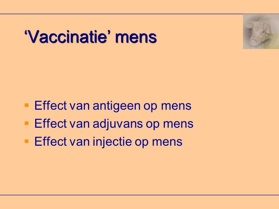 'Vaccinatie' mens Effect van antigeen op mens
